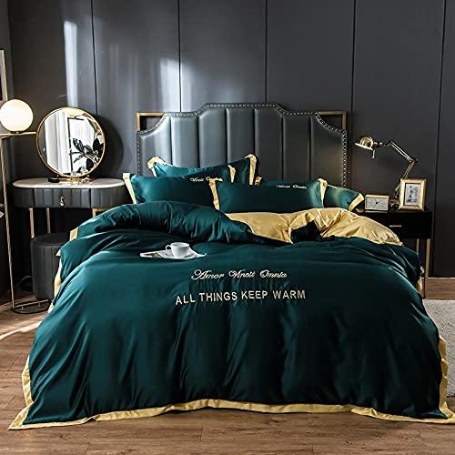 Bedding-LZ Juegos de sábanas de 90 de Oferta,Ropa de Cama de Cuatro Piezas de Seda de Doble Cara Lavada a Mano-K_1,8 m de Cama (4 Piezas) (20 Series de 200 * 230)