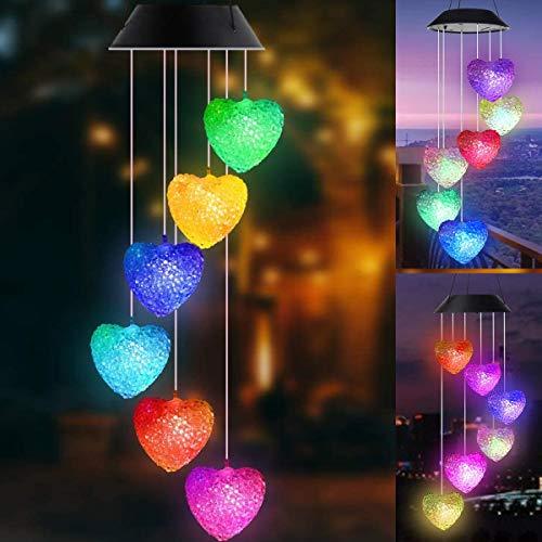 Tapusen Windspiel Solarlichter, Liebe Herz Windspiele LED Beleuchtung, Solar Kristallkugel Indoor Outdoor Dekor, Solarlicht Mobil für Garten Yard Home, Geschenke für Mama, Frau, Oma