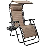 Flamaker Zero Gravity Chair with Canopy Outdoor Lounge Chair Folding Patio Recliners Adjustable Lawn Lounge Chair with Pillow for Poolside, Yard and Camping (Yellow)