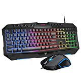 PICTEK Backlit Keyboard and Mouse Combo, LED Wired Gaming Keyboard, Ergonomic Keyboard, Wrist Rest Keyboard with Efficient Multimedia Keys, Programmable Gaming Mouse for Mac, PC, Sega Game Gear Games