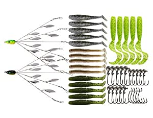 5 Arms Alabama Umbrella Rig Fishing Ultralight Tripod Bass Lures Bait Kit Junior Ultralight Willow Blade Multi-Lure Rig (8 Blade kit (43pcs))