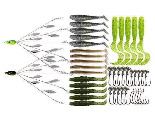 5 Arms Alabama Umbrella Rig Fishing Ultralight Tripod Bass Lures Bait Kit Junior Ultralight Willow Blade Multi-Lure Rig (8 Blade kit (43pcs))