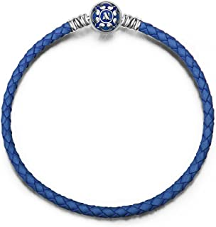 NINAQUEEN Christmas Bracelet Gifts Blue Genuine Leather Woven Pandöra Bracelet with 925 Sterling Silver Snap Clasp Charm, Birthday Anniversary Gifts for Women