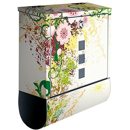 wandmotiv24 Briefkasten Edelstahl Zeitungsrolle Motiv Luca – Design Mailbox Modern, Zeitungsfach, Designbriefkasten, Postkasten, Bunt - 2