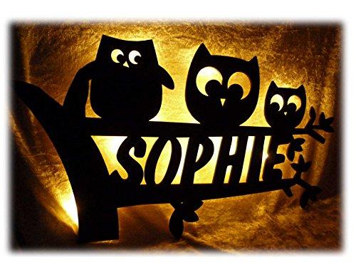 Schlummerlicht24 Led Design 3 Eule Eulen Eulenlampe Nachtlicht Lampe zur Geburt Taufe mit Namen Geburtsgeschenk personalisierte Kommunion Taufgeschenke Kinder Zimmer Beleuchtung Babys