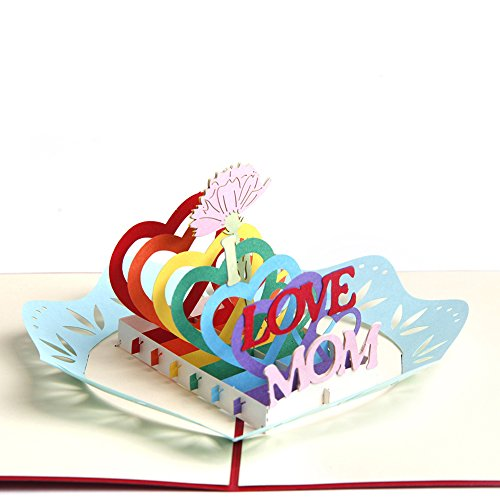 Paper Spiritz 3D Pop Up Mom Greeting Card, Mother's Day Card, Birthday Greeting Card, 3D Pop Up Thank you Card For Mom Grandma All Occasion,with Envelope