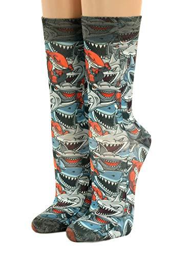 Wigglesteps Men Socks Jaws Hai,one Size 41-46