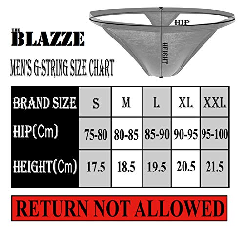 THE BLAZZE 0014 Men's G-String Thong Thongs Sexy Low Mid High Thongs Sexy Underwear Thongs for Men (XX-Large(95-100cm), A - Black)