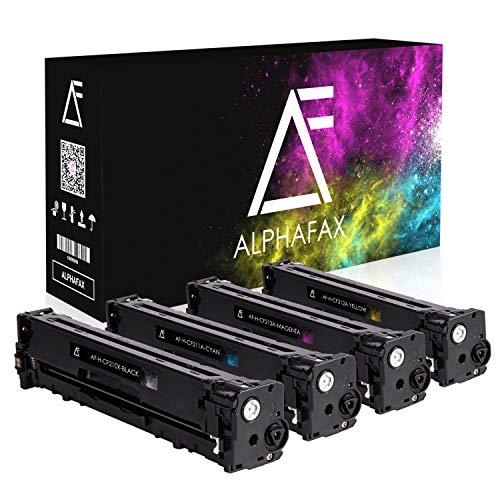 4 Alphafax Toner kompatibel zu HP CF210X CF211A CF212A CF213A für HP Laserjet Pro 200 M251n Color MFP M276nw M276n M251nw - Schwarz 2.400 Seiten, Color je 1.800 Seiten