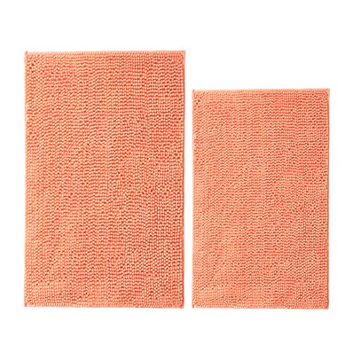 Cosyroom Chenille Bathroom Rug Mat Non Slip Extra Absorbent and Soft Bath Mats for Bathroom Floor Mats Shaggy Bath Rugs for Tub, Shower Washable, Set of 2, 20