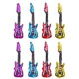 Reuvv 8 Piezas Guitarra Globo Aluminio Película Hinchable Juguete Inflable Rock Instrumento Forma Reutilizable Fiesta para Festival Cumpleaños Decoración Niños Artículos - Mezcla Color