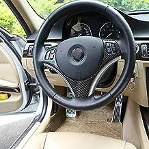 ABS Chrome Car Steering Wheel Button Decoration Frame Trim for BMW E90 3 Series 2005-2012 Auto Accessories (Carbon Fiber)