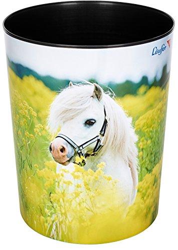 Läufer 26662 Motiv-Papierkorb Pferd im Rapsfeld, Pony, 13 Liter Mülleimer, perfekt für das Kinderzimmer, rund, stabiler Kunststoff