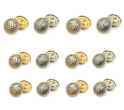 メタルボタン 20mm 8個 15mm 16個 ゴールドボタン シルバーボタン ライオン柄 ブレザーボタン スーツボタン 袖口ボタン 金ボタン 制服 コート 手芸 裁縫材料 レザークラフト ハンドメイド