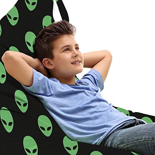 ABAKUHAUS Alien Toy Bag Lounger Chair, Martian Design, High Capacity Stuffed Animal Storage with Handle, Fern Green Black