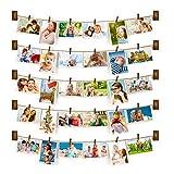 Family - Marco De Fotos De Pared Con Cuerda Portafotos Con 30 Pinzas PequeñAs Para DecoracióN De La Casa, Regalo De Boda Y CumpleañOs