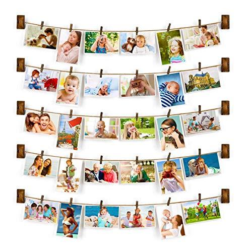 Family - Cornice Portafoto Da Parete Con Corda Porta Foto Con 30 Piccole Mollette Per Decorazione Della Casa, Regalo Per Matrimonio E Compleanno, Decorazione Di Natale