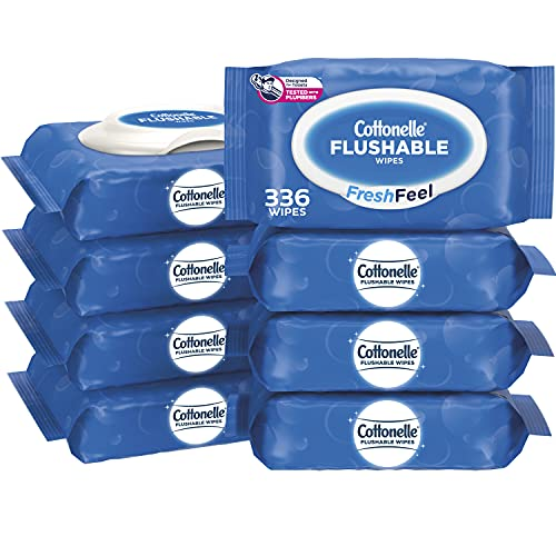 Cottonelle FreshFeel Flushable Wet Wipes for Adults and Kids, 8 Flip-Top Packs, 42 Wipes per Pack (336 Wipes Total)
