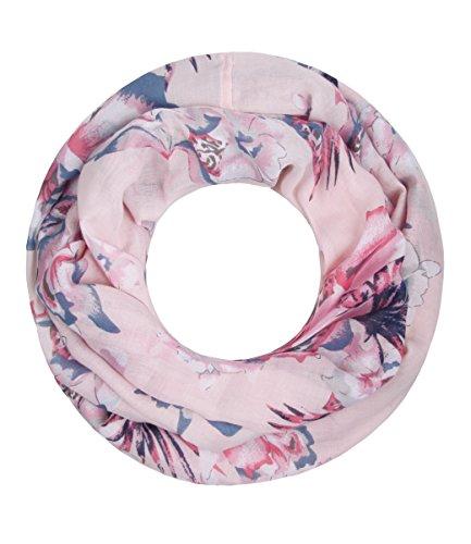 Majea Damen Loop Schal viele Farben tolle Muster Schlauchschal Halstücher, Puder 2, 180 x 90