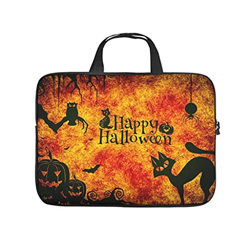 Funda para portátil con diseño de gato de noche de Halloween con doble cara, impermeable, de neopreno, con asa., blanco, 15 pulgadas,