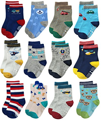 Deluxe Non Skid Anti Slip Slipper Cotton Crew Socks With Grips For Baby Toddler Boys (3-9 Months, 12-pairs/assorted)
