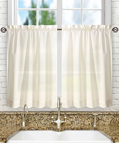 Ellis Curtain Stacey 56-by-36 Inch Tailored Tier Pair Curtains, Ice Cream, 56x36