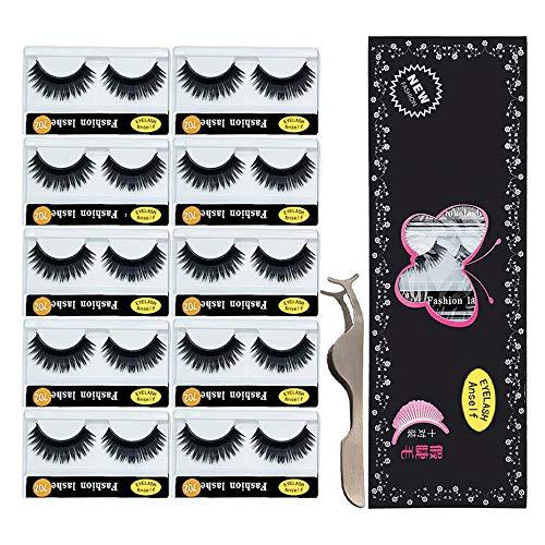 10 paires de Faux Cils, Anself Natural 3D Cils Faux avec Faux Cils Applicateur, Longs Épais Cils Bouclés Cils Maquillage Cils Bande