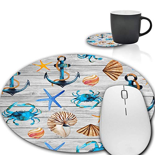 Mouse Pad and Coffee Coaster, Seashells Anchors on Wood Mousepad Non-Slip Rubber Gaming Mouse Pad Round Mouse Pads for Computers Laptop