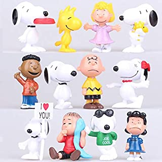 Peanuts Movie Classic Characters Toy Figure,12 Pcs Snoopy Cake Toppers Cakecup Toppers-Kids Birthday Party Cake Decoration Supplies …