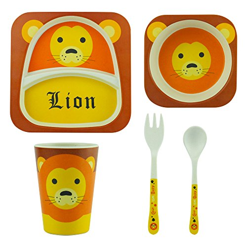 eroilor Set de vaisselle pour enfants, sans BPA en fibre de bambou bio 5pièces, Lion