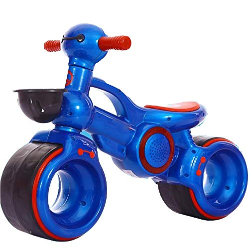YumEIGE loopfiets voor kinderen geschikt voor 10 maanden tot 2 jaar, loopfiets 27,5-35,4 inch lang, balansfiets rubber op wielen blauw
