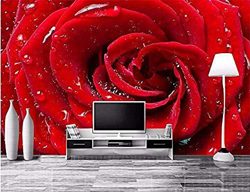 Papier peint d'art moderne de FSKJBZ Hd Drops Roses rouges claires Salon Hôtel Tv Canapé Toile de Fond Murale Papier Peint 3D Peinture Murale Image @ 350cmx245cm
