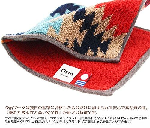 田中産業今治タオルレッド・グリーン・ブルー約25×12.5cmハーフタオルハンカチオッタ同柄3枚組17-263枚入
