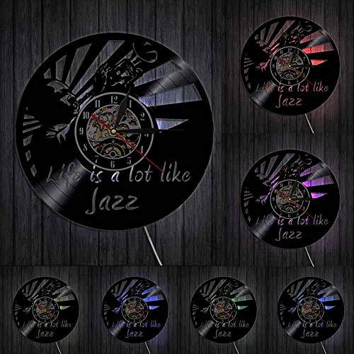 Jazz is a lot like Life - Reloj de pared de vinilo con citas musicales, diseño vintage de jazz y arte musical, regalo para los amantes del jazz sin LED