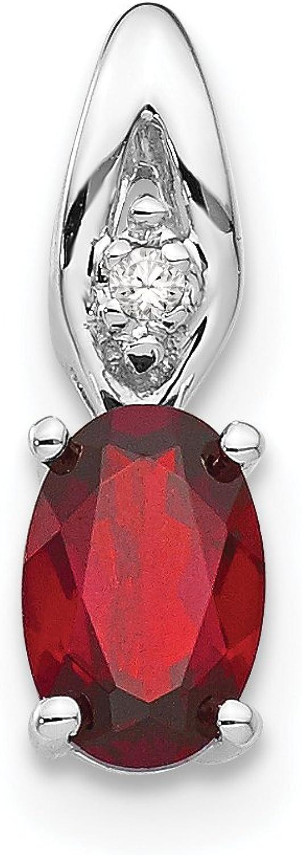 Diamond2Deal 14k White gold Garnet Diamond Pendant