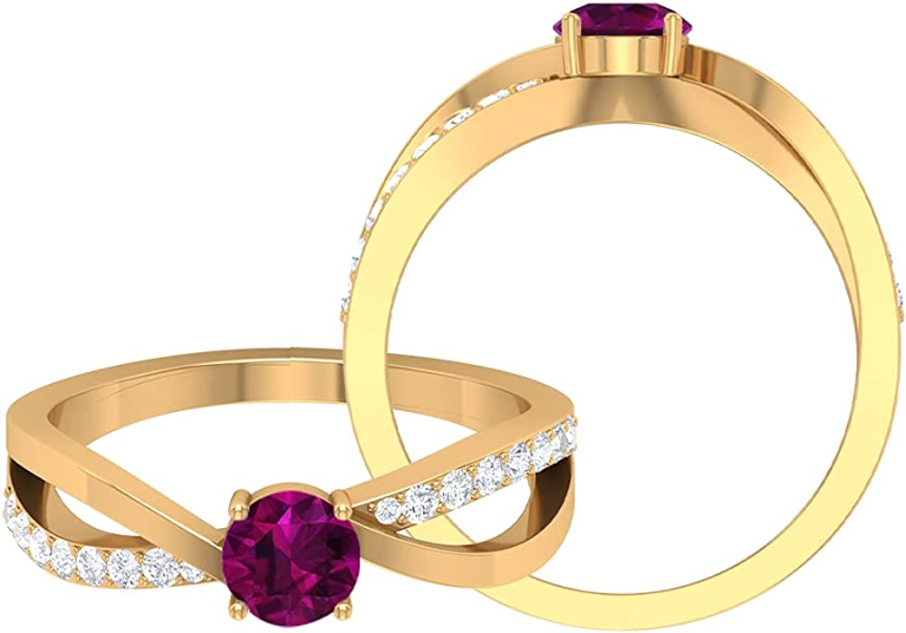 June Birthstone - 1/2 CT Infinity Promise Ring with Solitaire Rhodolite and Diamond (AAA Quality), 14K Gold