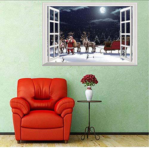 Hwhz Babbo Natale Cervo 3D Finestra Finta Natale Pvc Wall Sticker Capodanno Decorazione Soggiorno Kids Room Camera Da Letto Carta Da ParatiC