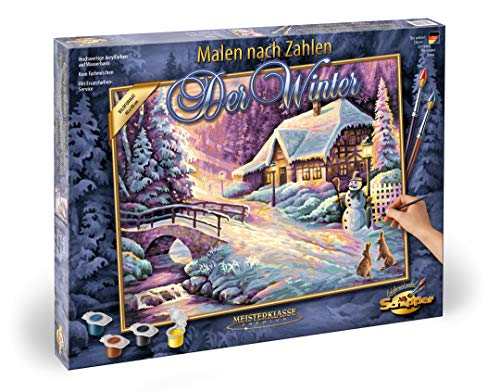 Schipper 609130504 - Malen nach Zahlen – Der Winter - Bilder malen für Erwachsene, inklusive Pinsel und Acrylfarben, 40 x 50 cm