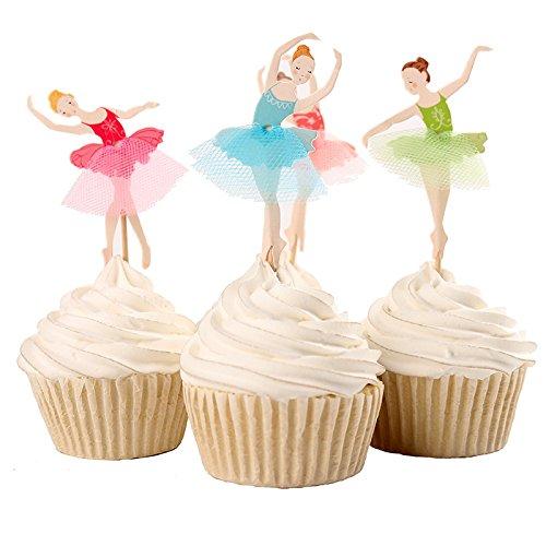 Ballett Mädchen Ballerina Tanzen Kuchendekoration Cupcake Toppers Geburtstagskuchen Deko Cupcake deko (Ballett Mädchen)