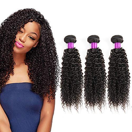 feibin Extensions capillaires Cheveux bouclés naturels et non-traités Noir naturel