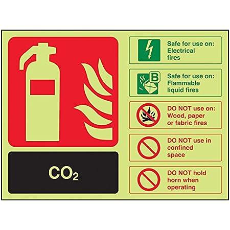 VSafety Glow In The Dark Foam Spray Id Electrical Safe Fire Extinguisher Sign Rigid Plastic 200mm x 150mm