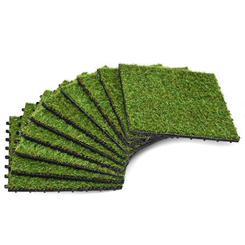 N / A vidaXL Kunstrasen Terrassenfliese, Künstliches Gartengras, Kunstrasen-Fliesen, 30 x 30 cm Grün, DIY Gras Fliesen für Ornament Garten Balkon oder Terrasse (10 STK)