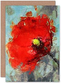 Fine Art Prints Ljus vallmo skiss målning gratulationskort med kuvert inuti premiumkvalitet