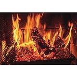 OFILA 3x2m Fondo de fotografía de Chimenea ardiente Pared de ladrillo Desgastado Chimenea Fondo de Llama Fogata Barbacoas Fiesta Leña ardiente Chimenea de Navidad Fondo de Foto Fiesta de Hoguera
