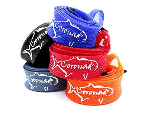 Coronado Angelrolle, extra breit, 5er-Pack, 2 Stück, Packung mit 5 Farben: Schwarz, Grau, Rot, Orange und Blau | Öffnung 2,5 cm – 5 cm., 2.5cm x 183cm