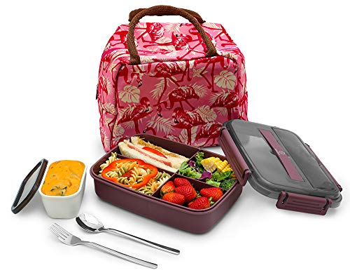 MINCOCO Bento Lunch Box Leak-proof Eco-Friendly Bento Box Food Storage Containers with Large Lunch Bag Sauce Jar Stainless Spoon&Fork for Adults Women Men Kids Grape Purple