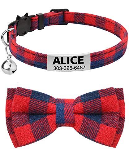 TagME Personalisierter Katzenhalsband mit Sicherheitsverschluss & Krawatte, Katzenmarken aus Edelstahl Gravur mit Name und Telefonnummer