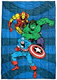 Marvel Comics Avengers Good Guys Weighted Blanket 5 lbs - Measures 36 x 48 inches, Kids Bedding Features Captain America, Iron Man, & Hulk - Fade Resistant Super Soft Velboa (Official Marvel Product)