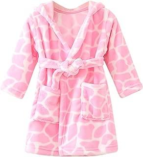 Baby Boys Girls Flannel Bathrobe Cow Leopard Print Thick Warm Night-Robe Pajamas