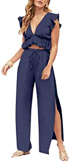 Womens 2 Pieces Outfits Deep V Neck Crop Top Side Slit...